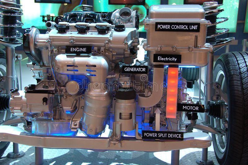Hybrid Gas Electric Engine  Illustration Diagram Of Hybrid