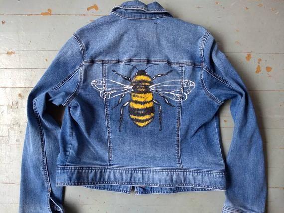 Hand painted honey bee jean jacket