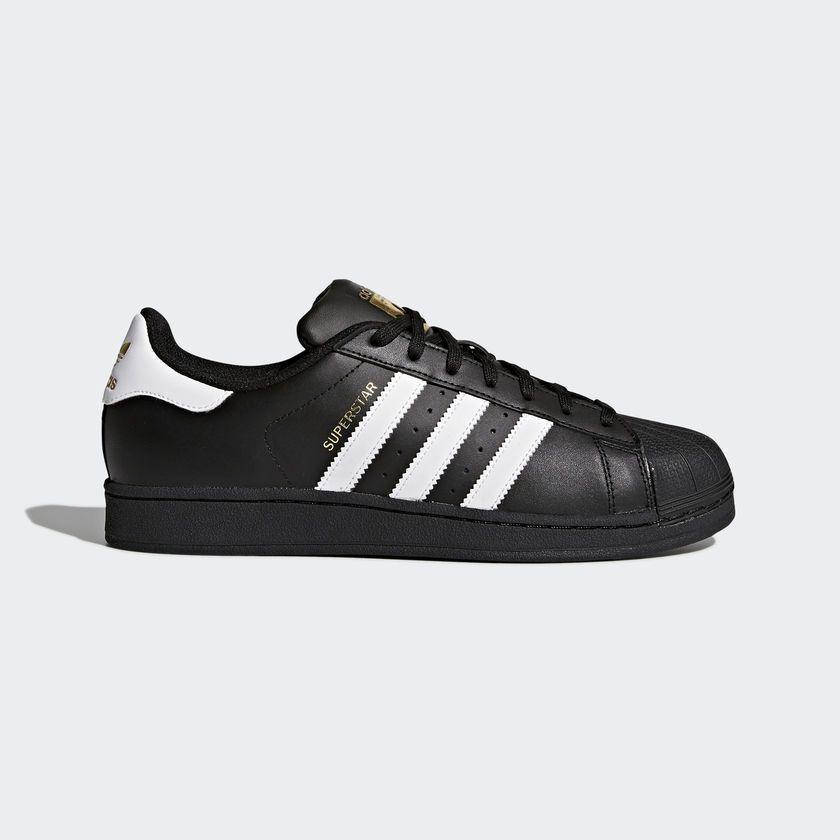 adidas Originals Men's Superstar Sneaker GOLD TONGUE, Black/White. B27140