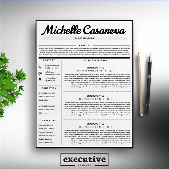 Professional 2 Page Resume Template / CV, 2 Cover Letters A4  US