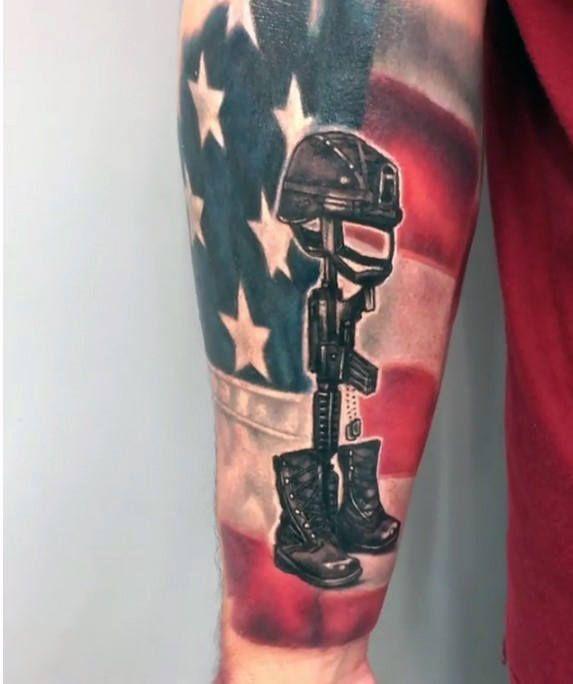 50 Fallen Soldier Tattoo Designs For Men Memorial Ideas Tattoos