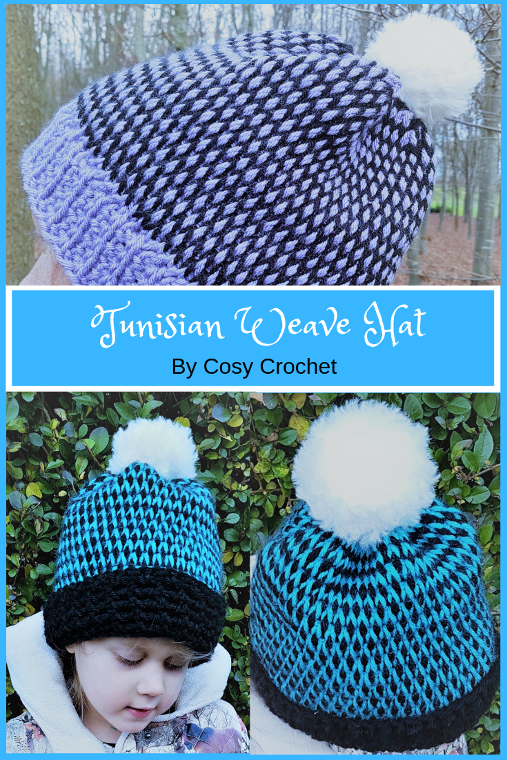 The Tunisian Weave Hat pattern is avaliable in 4 sizes from Toddler to large adult. Get the FREE pattern from Cosy Crochet now. #crochet #cosycrochet #tunisianweavehat #tunisiancrochet