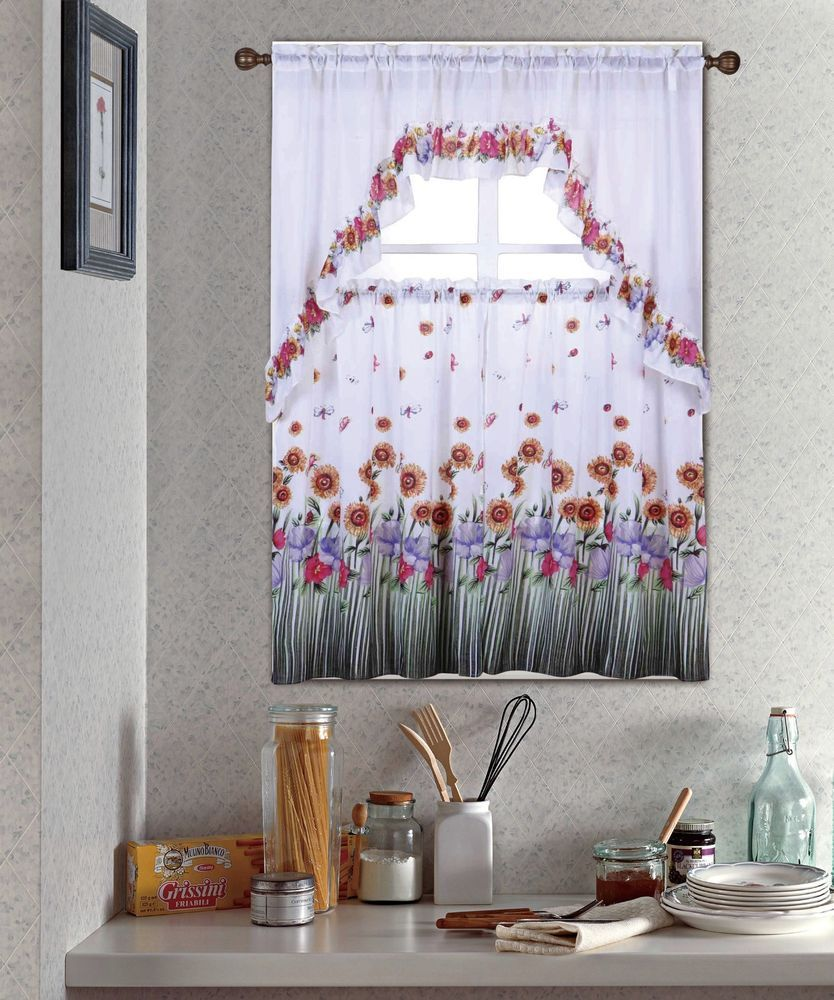 Blossom, complete tier & swag set, kitchen curtain set, kitchen curtains