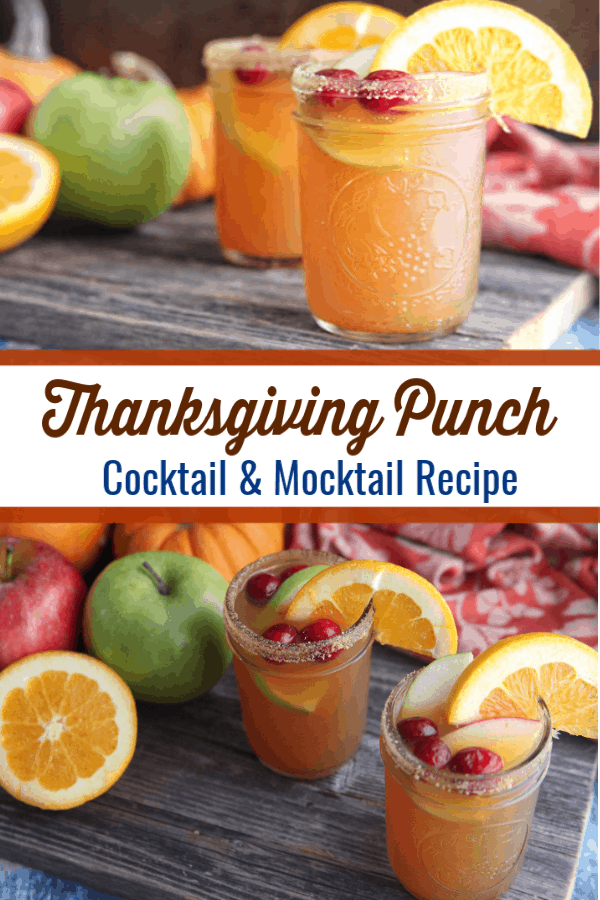 This thanksgiving punch recipe has all the flavors of fall and can be easily made as a cocktail or mocktail. #thanksgiving #mocktail #cocktail #thanksgivingcocktail #thanksgivingmocktail #thanksgivingpunch #alcoholpunchrecipes