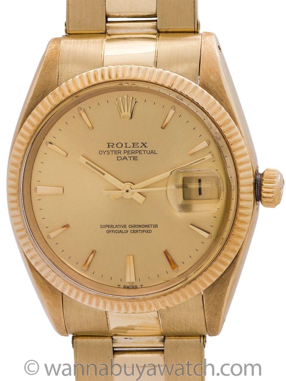 Rolex Oyster Perpetual Date Ref 1500 14k Yg Circa 1966 Rolex Oyster Perpetual Date Oyster Perpetual Rolex