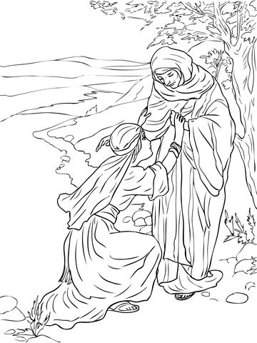 Ruth And Naomi Coloring Page With Images Bible Coloring Pages
