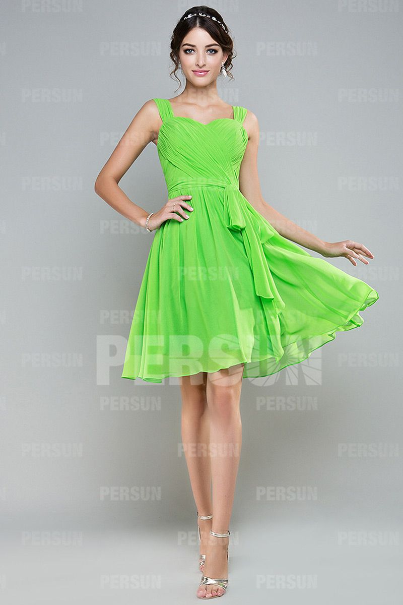 Robe cocktail verte pomme