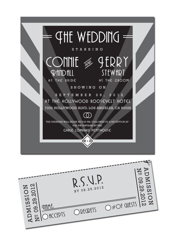 Diy Printable Old Hollywood Wedding Invitation Rsvp Ticket