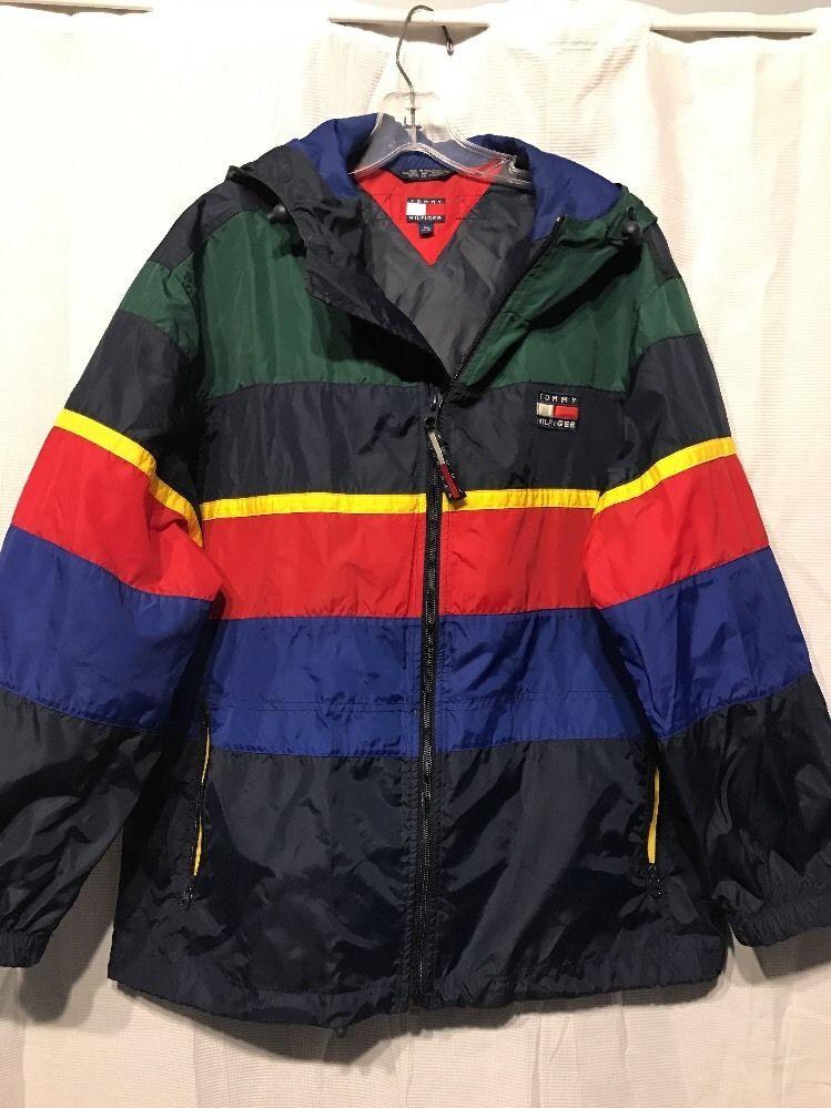 Vintage Tommy Hilfiger 90s Color Block Big Logo Urban Lotus Sailing Jacket XL  | eBay
