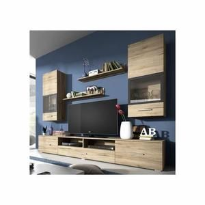 Meuble Tv Meuble Tv Design Mural Arann Bois Clair Compo Tv Unit