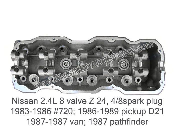 83-89 Nissan 2.4 Z24 8V new cylinder head.  SOHC 4 cylinder for 4/8 spark plugs.  Fits: 720 Pickup, D21 PIckup, Van, and 87 Pathfinder.  Reinforced for higher mechanical performance