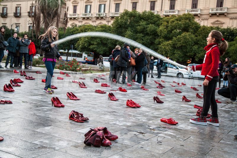 "On the eve of the International Day against femicide, Palermo revived the participative installation ""Zapatos Rojos"", by the Mexican artist Elina Chavet to raise awareness at the continuous violence women face on a daily basis."
