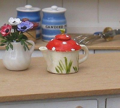 Dolls House Miniature Ceramic Toadstool Teapot