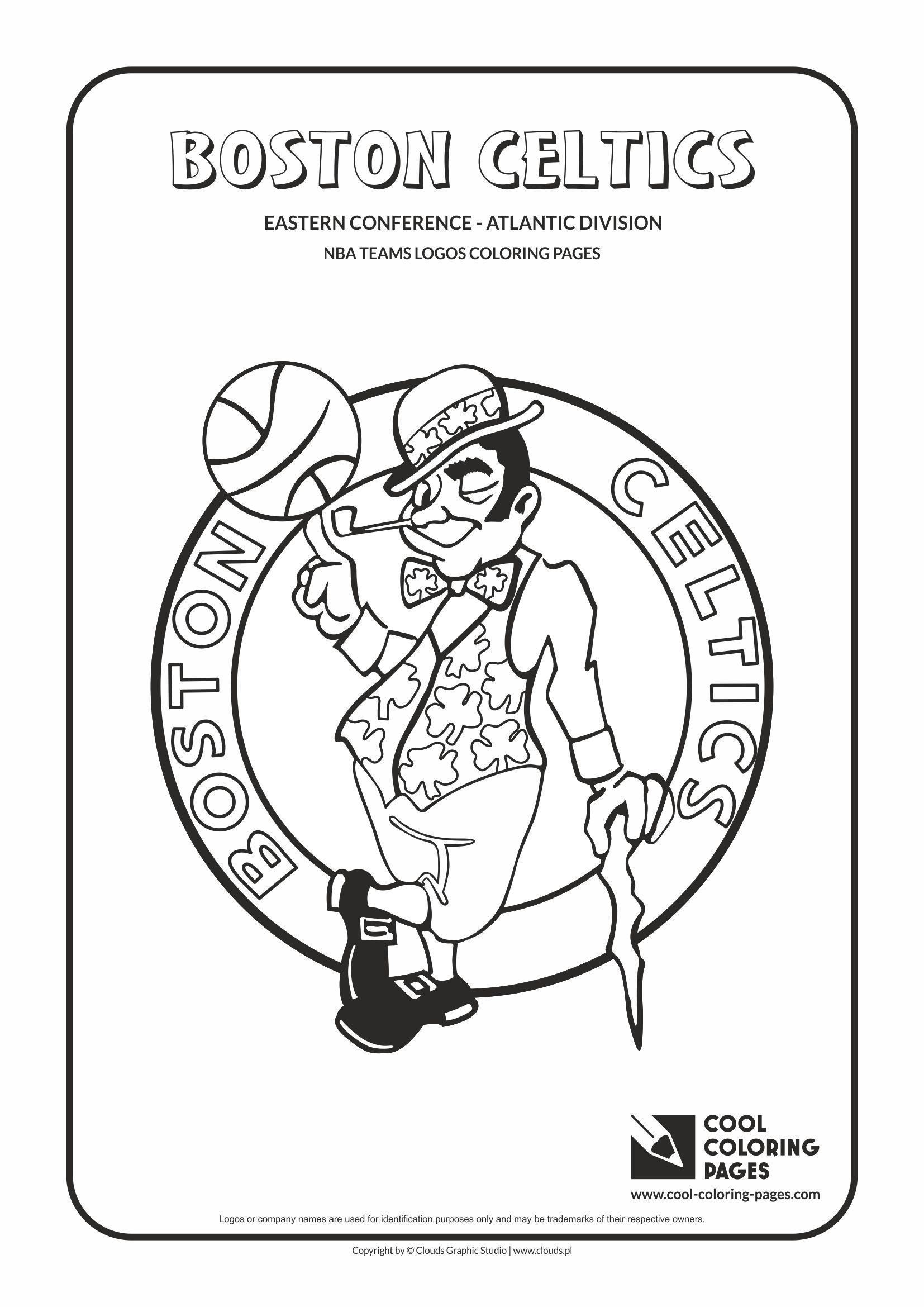 cool coloring pages nba teams logos boston celtics logo coloring page with
