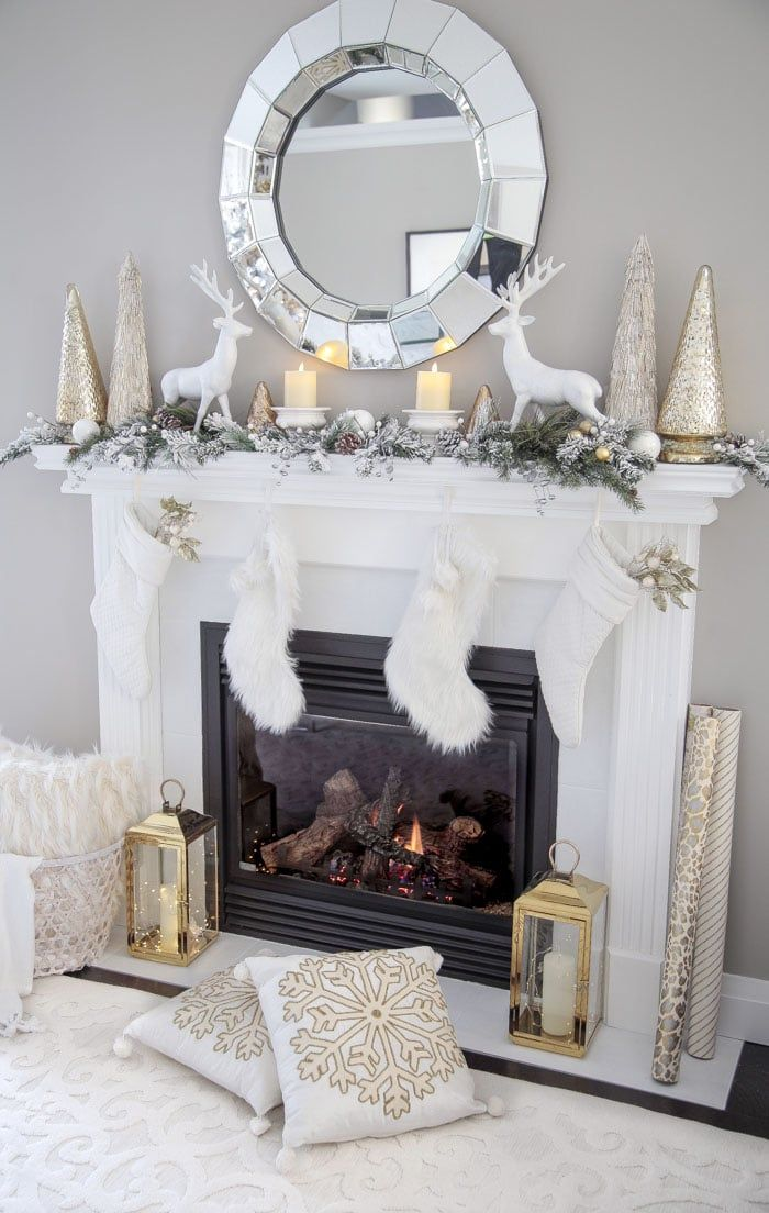 Photo of Elegant Gold and White Christmas Living Room Decor Ideas