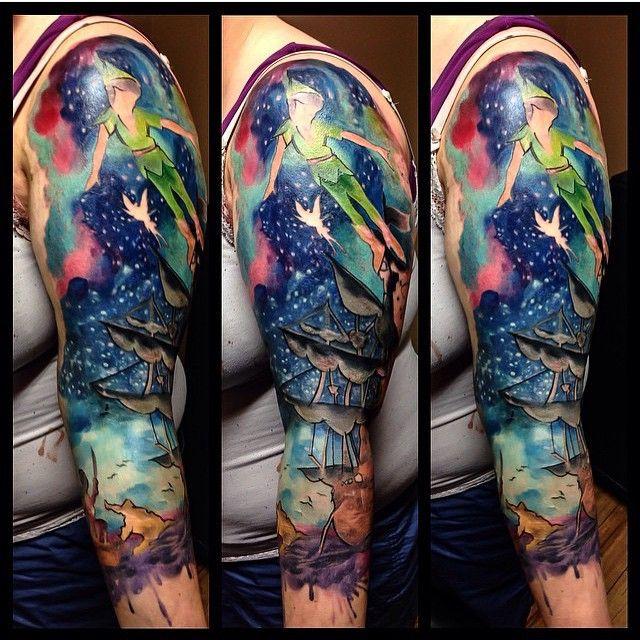 25 Elegant Peter Pan Tattoos Drawn With Special Meaning Peter Pan Tattoo Sleeve Tattoos Half Sleeve Tattoo