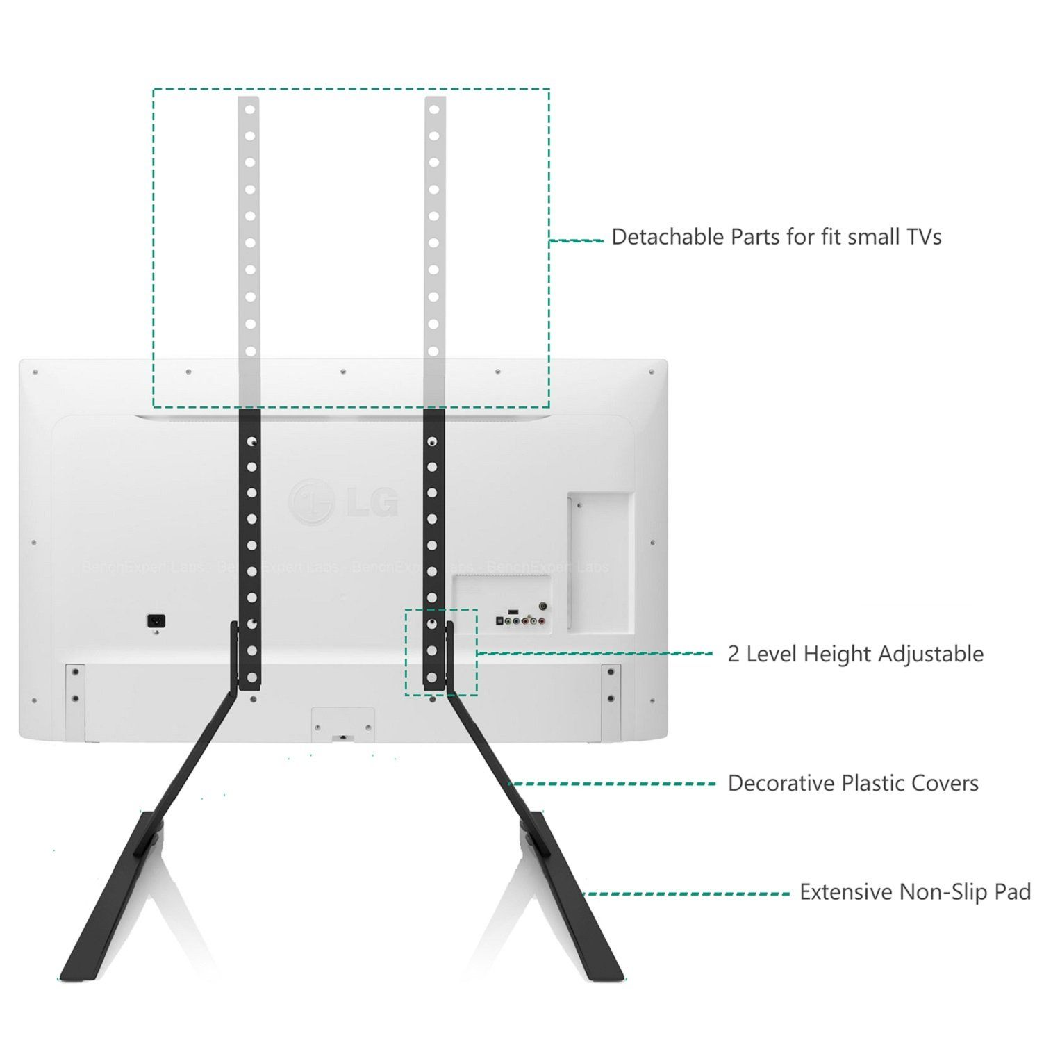 """VESA up to 800... WALI Table Top TV Stand for Most 22/""""-65/"""" LCD Flat Screen TV"""