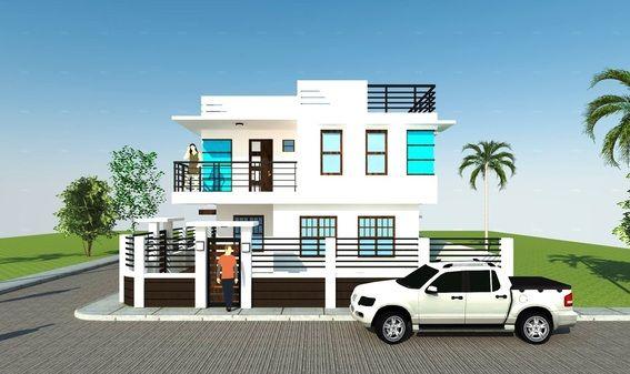 Model joey modern minimalist design with roof deck for Modern house design corner lot