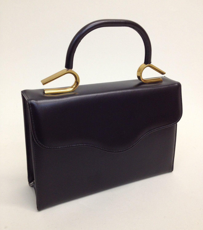 1950s Handbag Black with Gold Handle, Vintage Purse