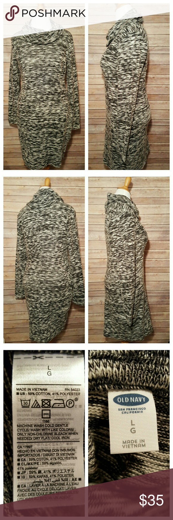 Old Navy Cowl Neck Sweater Dress Black and White L There's still plenty of cool weather left for this soft and comfy sweater dress. Pair with some black leggings and boots and you're all set!  Size Large  59% Cotton 41% Polyester Old Navy Dresses Long Sleeve