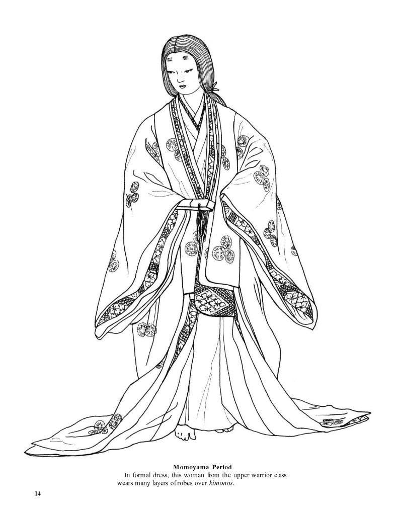 Geisha Kimono Desenhos Japoneses Colorir Livro De Colorir