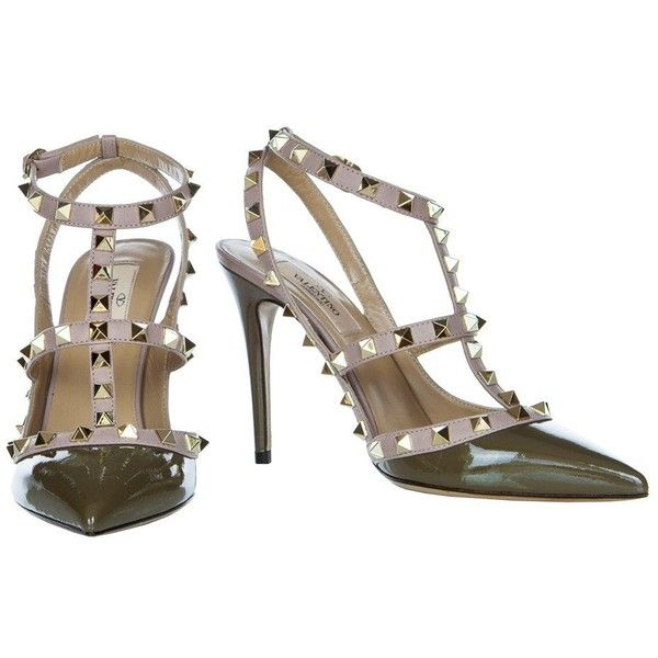 Valentino Rockstud Army Green 100mm Ankle Strap Pump IW2S0393VNW Y42 (3.955 RON) ❤ liked on Polyvore featuring shoes, pumps, ankle wrap shoes, olive shoes, olive green shoes, ankle tie shoes and high heel court shoes