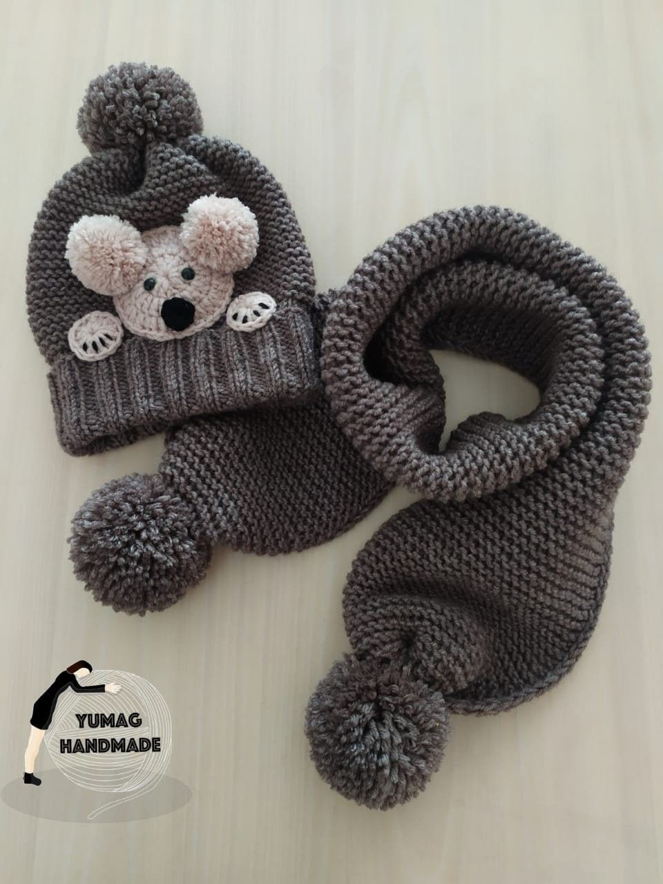 Bear Beanie Scarf Set, Grey Winter Hat for Kids, T