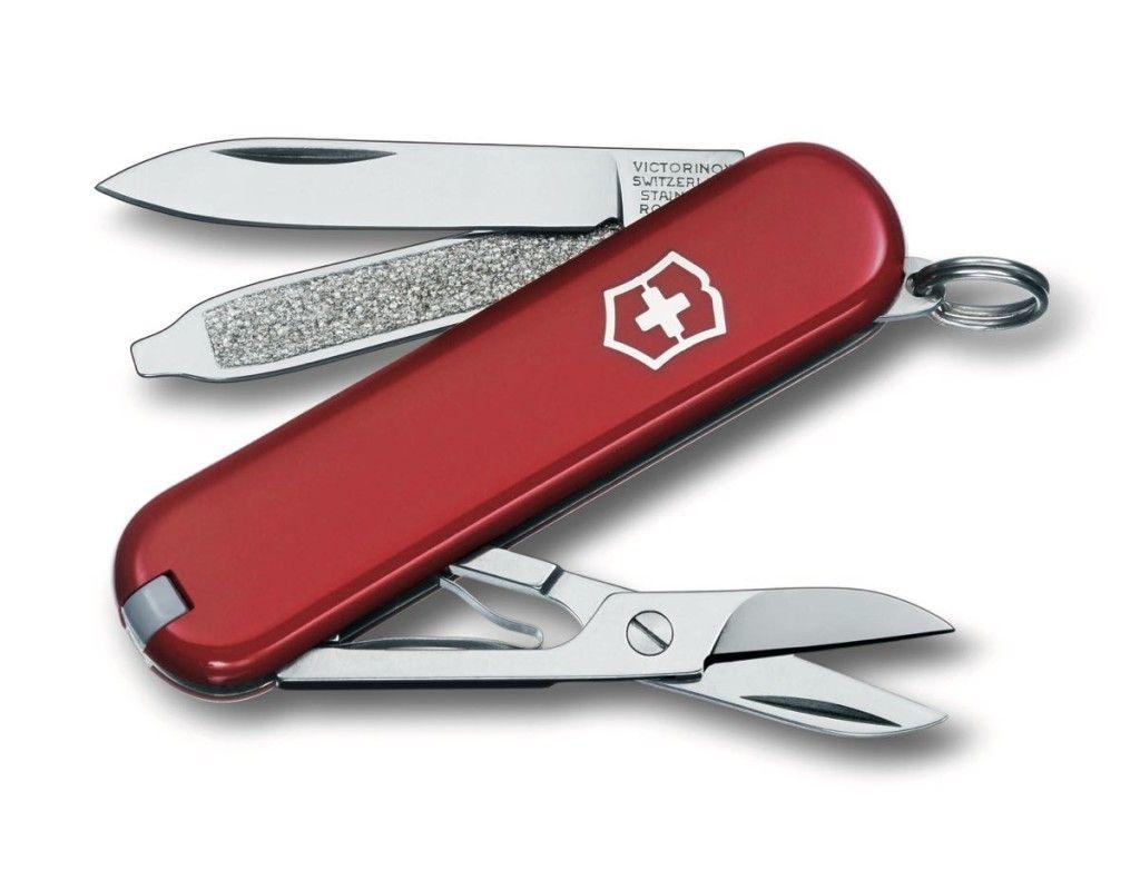 klassisches Schweizer Taschenmesser mit integriertem Messer und ...
