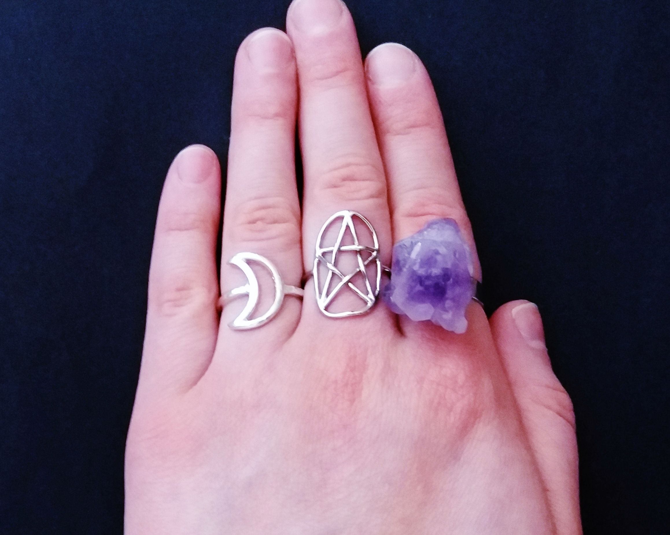 Amethyst crystal ring - raw crystal ring - gothic jewelry - nu goth ...