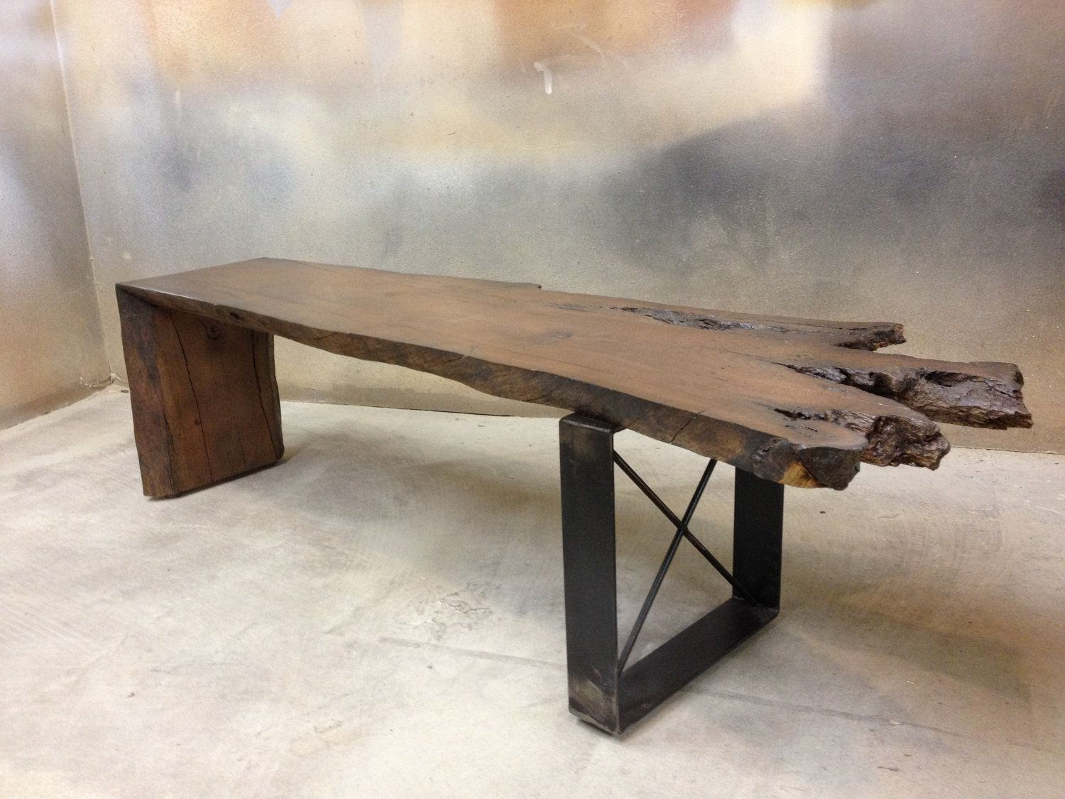 Modern Rustic Bench Handcrafted From Wood And Metal