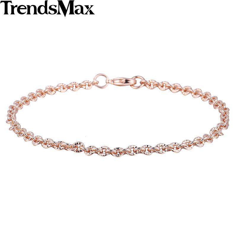 Trendsmax Trendy 3mm CUT Rolo Round Link Womens Chain Ladies Girls Friendship Chain Rose Gold Filled Bracelet GB395
