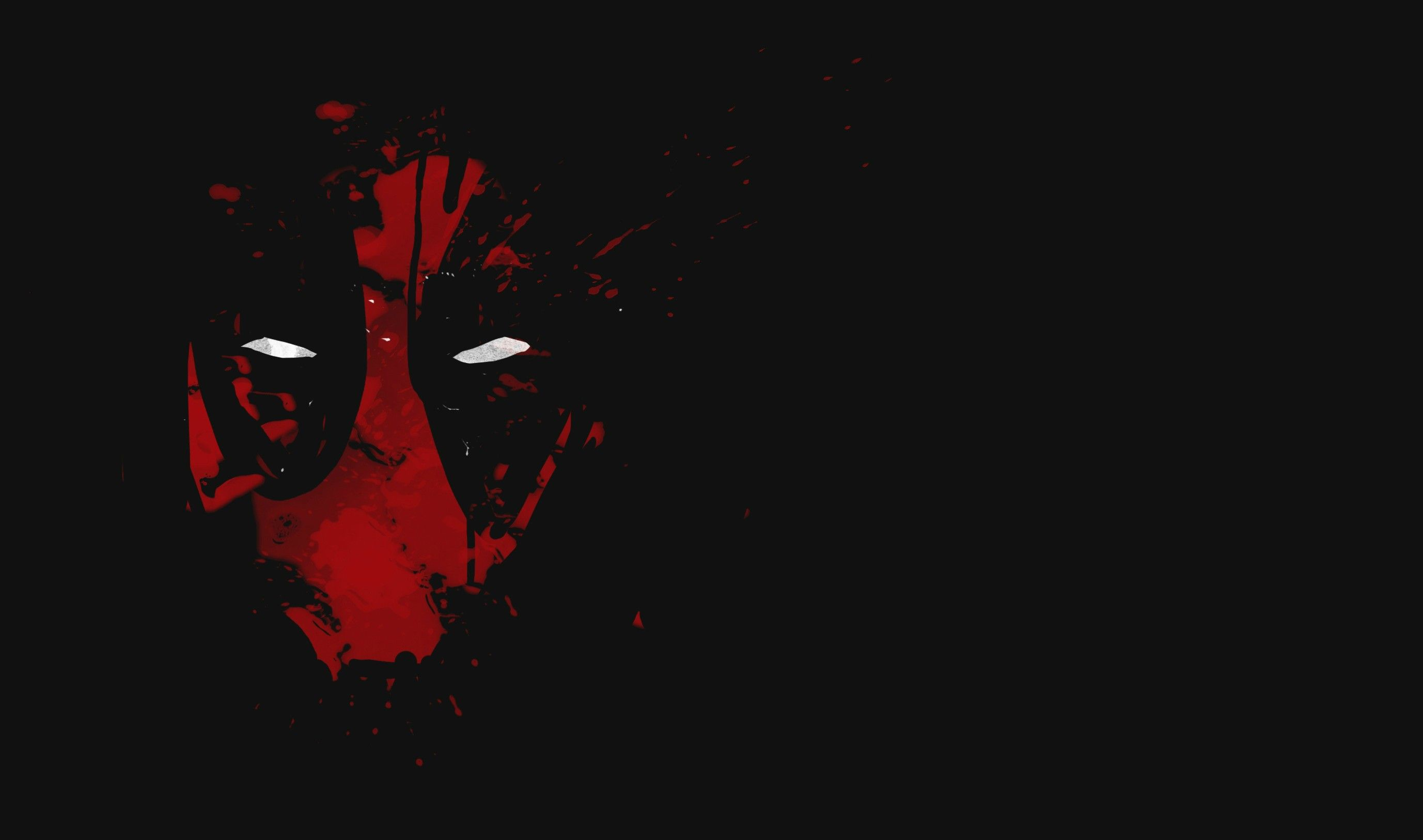 Cool Deadpool Wallpaper With Red Abstract Mask With White Eyes In