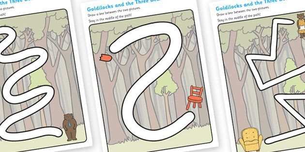 Goldilocks and the Three Bears Pencil Control Path Worksheets ...