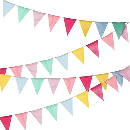 Amazon Com 36 Flags Multicolored Pennant Flags Banner Imitated Burlap Bunting Banner Pastel Decor Fabric Burlap Pennant Banners Burlap Bunting Bunting Banner