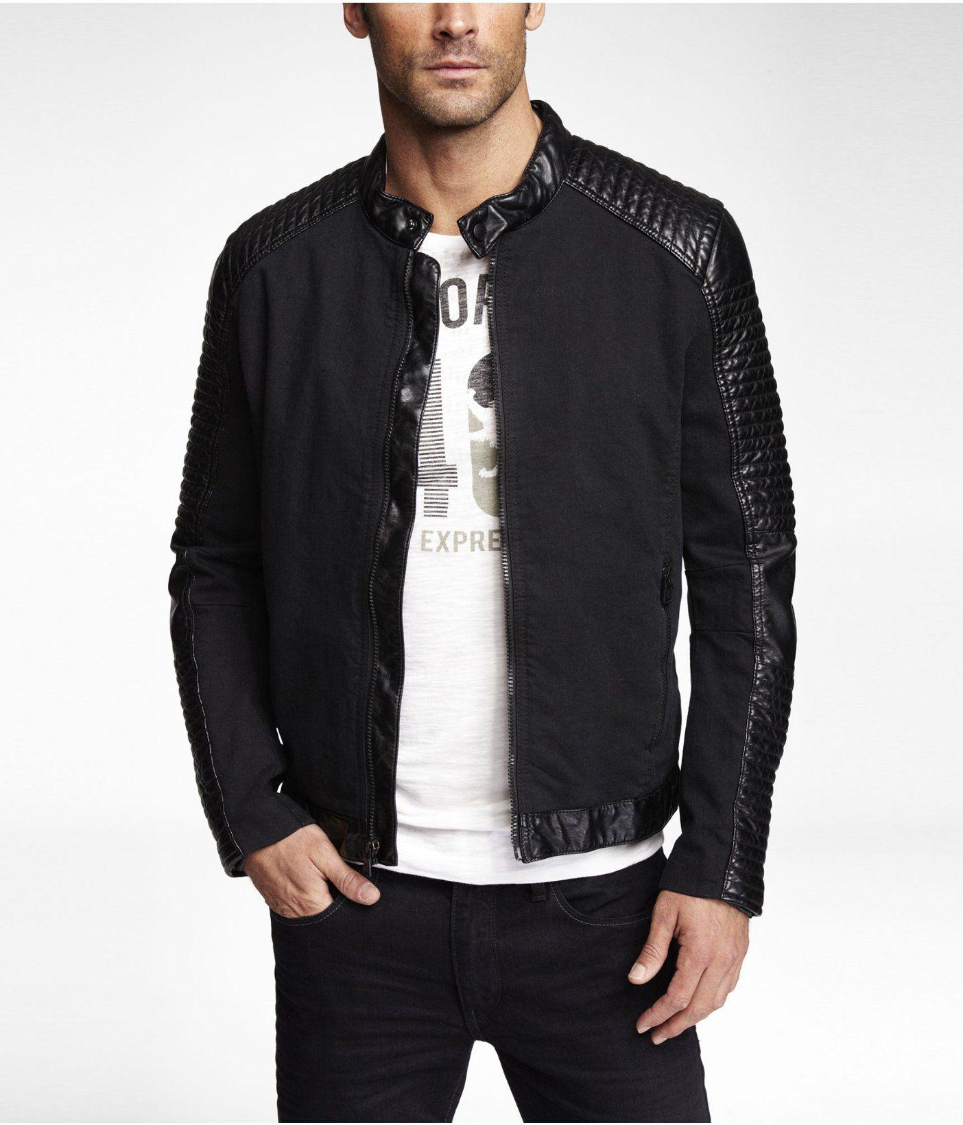 Mixed Media Biker Jacket Mens Clothing Styles Clothes Mens Outfits [ 1640 x 1404 Pixel ]