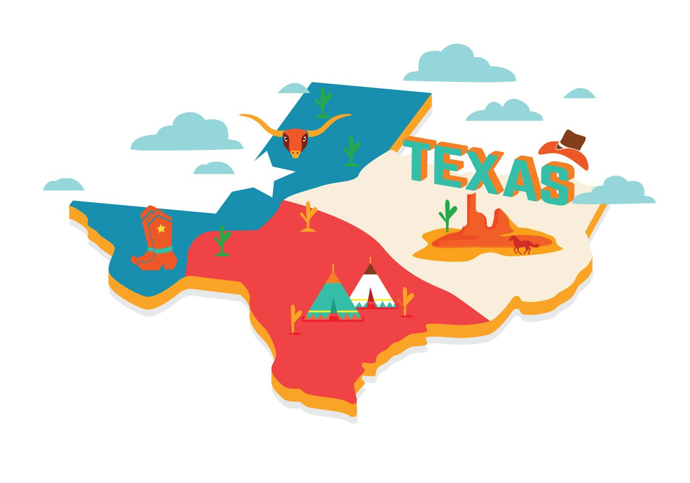 Free Maps And Flags Icons: Keywords: Texas Map Flag Icons Design Illustration