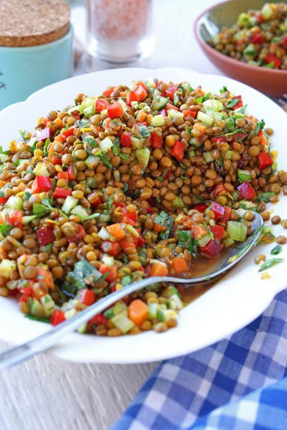 erfrischender linsensalat receta food pinterest ensaladas rezos y legumbres