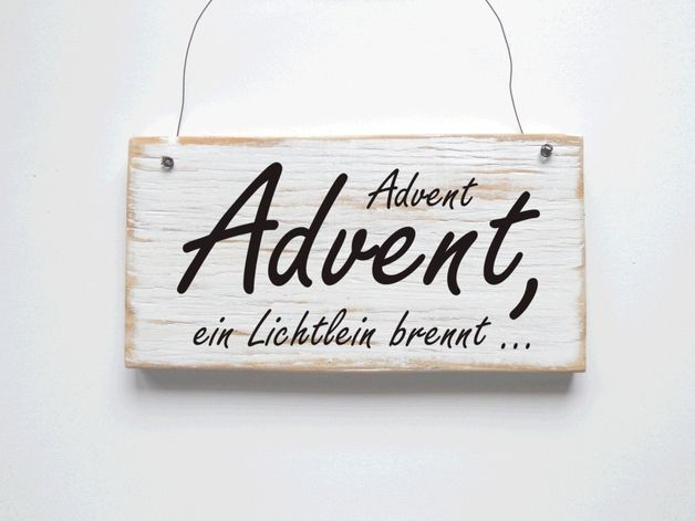 Holzschild advent vintage shabby transfer pinterest advent christmas und xmas crafts - Dawanda turschild ...