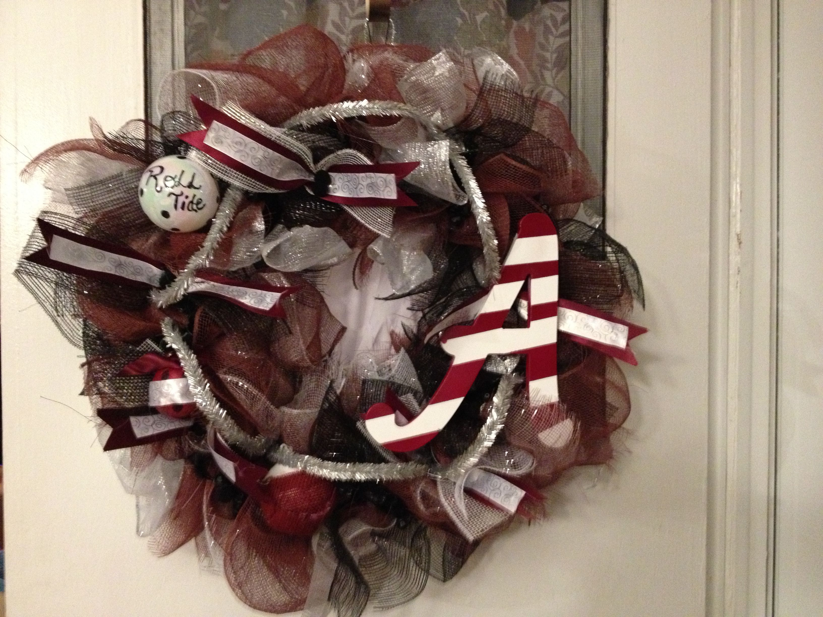 Maroon, Silver, Black & White Mesh wreath