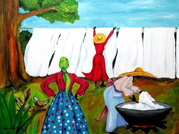Wash Day By Diane Britton Dunham Art Laundry Art Pastel Art