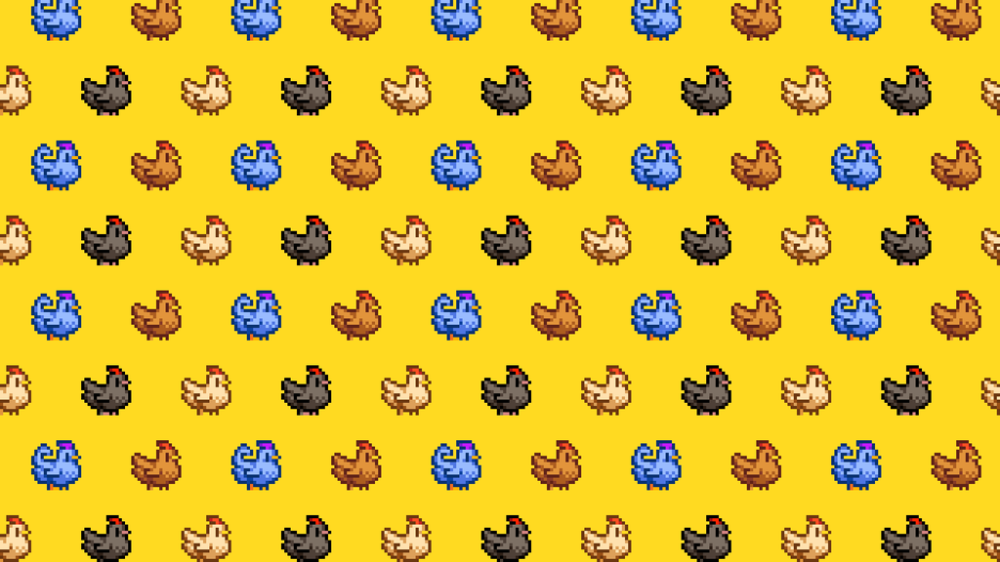 A Wallpaper From The Chickens Of Stardew Valley Stardewvalley Stardew Valley Stardew Valley Layout Valley Game
