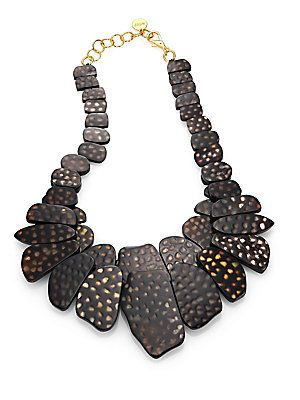 Nest Spotted Horn Cluster Statement Collar Necklace  - Available at Saks
