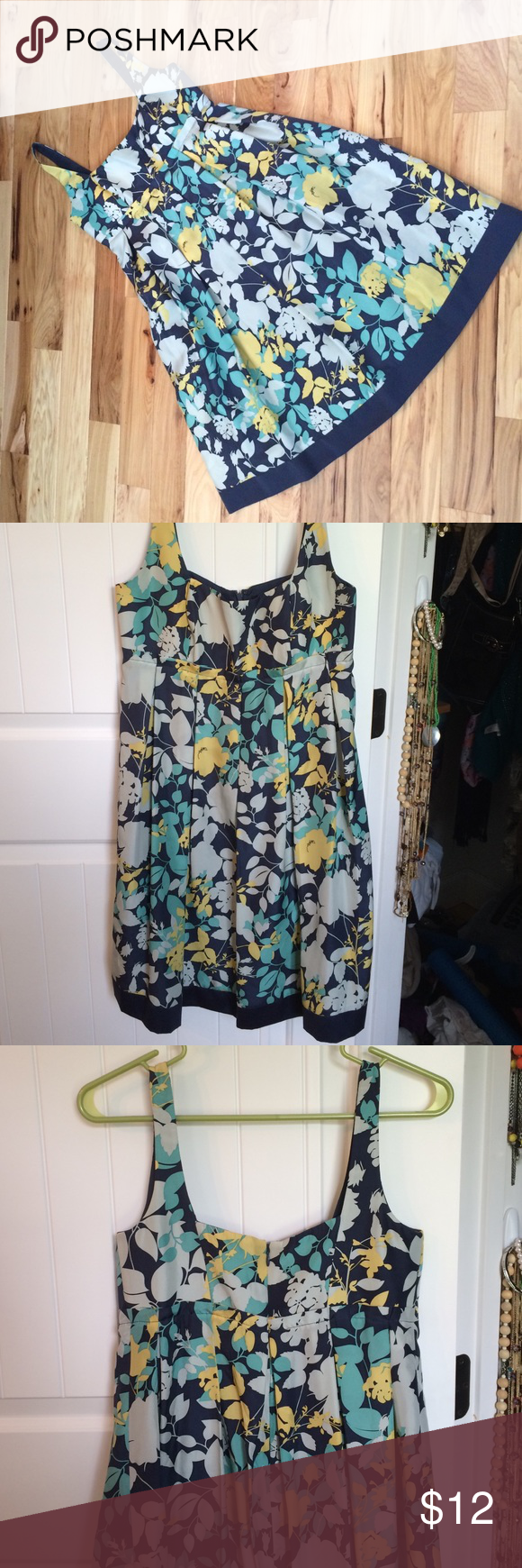 Max and Cleo floral dress 100%silk navy, gray, yellow, and green floral dress. Empire waist. Zip back.  Pleat detail. Dry clean only. Max & Cleo Dresses Mini