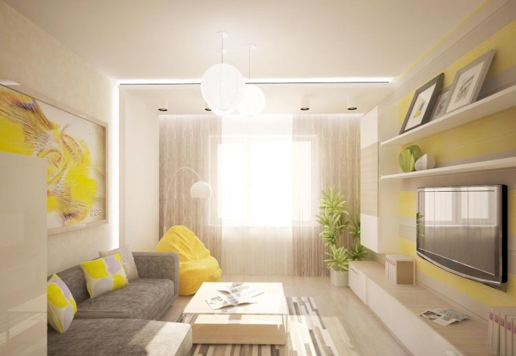 modernes wohnzimmer in gelb und grau gemütlich gestaltet | wohnen ... - Wohnideen Wohnzimmer Gelb