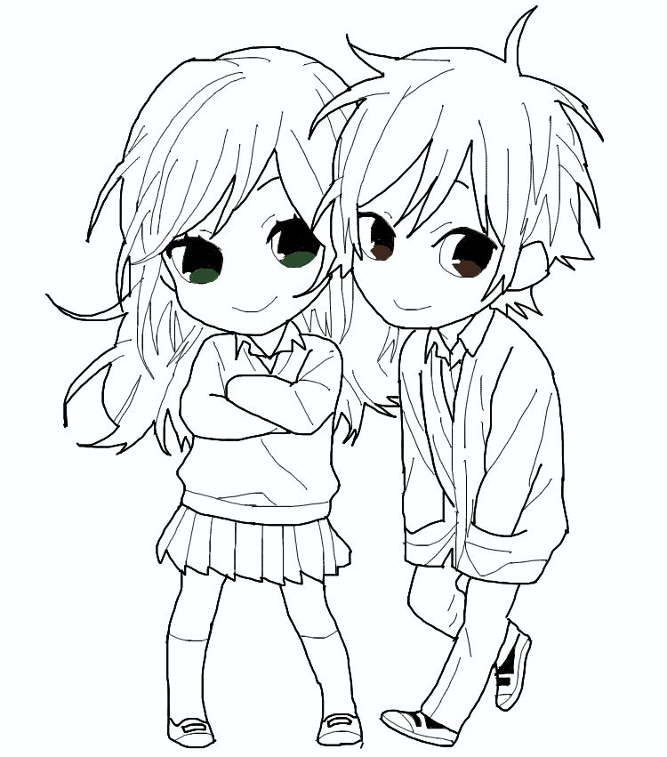 couple chibi outline