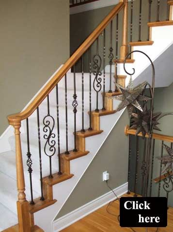 Wood And Iron Spindle Staircase | Wood Spindle Replacement Leeu0027s Summit  Missouri... I