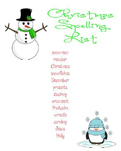Christmas Spelling Words.Christmas Spelling List Free Spelling Spelling Lists