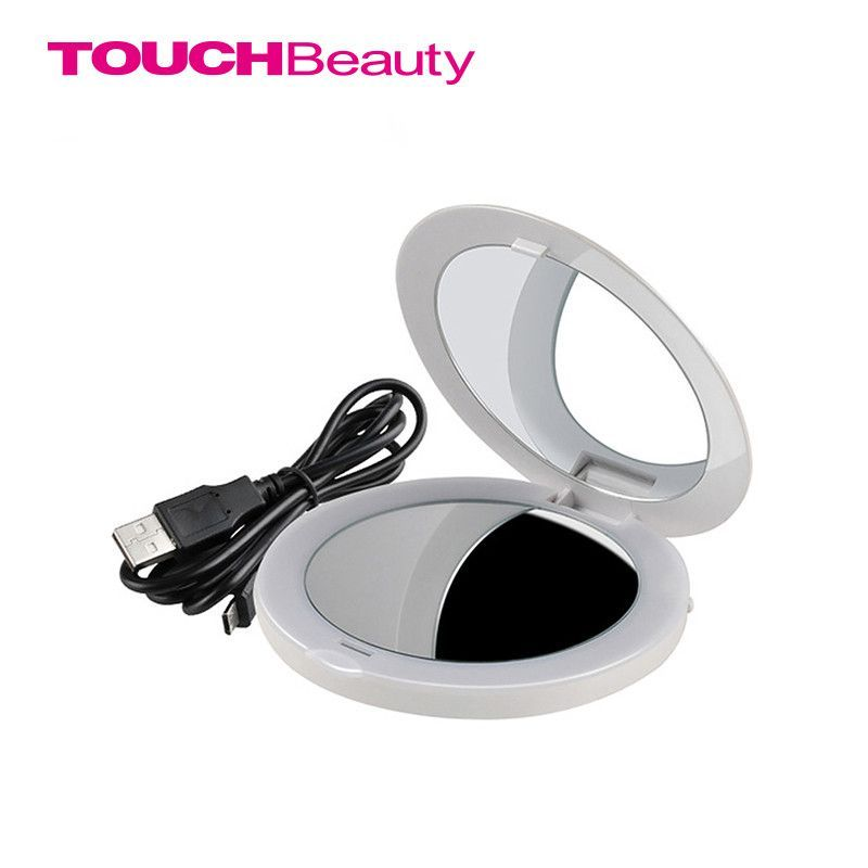 TOUCHBeauty chargeable makeup cosmetic led mirror with 2 sides 2 time magnifier built-in lights pearl white mirror