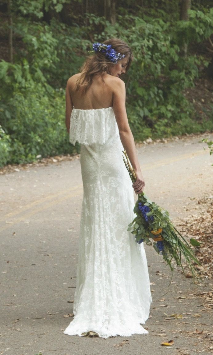 Ivory lace strapless bohemian vintage inspired wedding gown