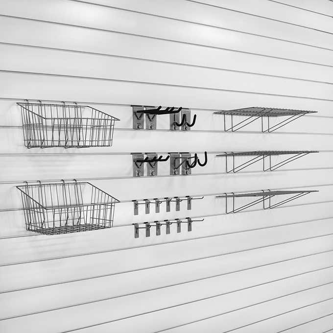 Proslat Wall Storage Ultimate Bundle 64 Sq Ft 25 Piece Hooks Accessories Wall Storage Slat Wall Slat Wall Storage